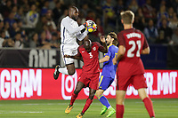 Carson, CA - Sunday January 28, 2018: Bill Hamid, Ike Opara during an international friendly between the men's national teams of the United States (USA) and Bosnia and Herzegovina (BIH) at the StubHub Center.