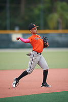 Justin Otero (59), from Bronx, New York, while playing for the Orioles during the Baseball Factory Pirate City Christmas Camp & Tournament on December 29, 2017 at Pirate City in Bradenton, Florida.  (Mike Janes/Four Seam Images)
