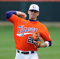 Infielder Matt Sanders warms up prior to a game between the Clemson Tigers and Mercer Bears on Feb. 24, 2008, at Doug Kingsmore Stadium in Clemson, S.C. Photo by: Tom Priddy/Four Seam Images