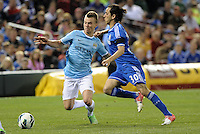 Albert Rusnak (55) Manchester City and Yossi Benayoun (30) Chelsea fight for the ball..Manchester City defeated Chelsea 4-3 in an international friendly at Busch Stadium, St Louis, Missouri.