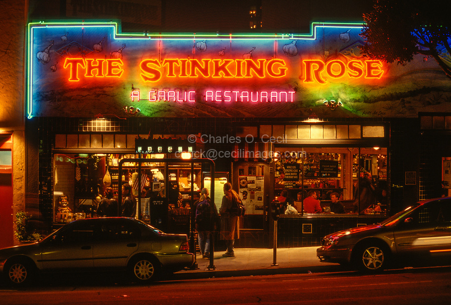San Francisco, California, USA. North Beach, Stinking Rose Restaurant at Night.