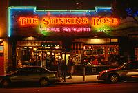 San Francisco, California, USA. North Beach, Stinking Rose Restaurant at Night.