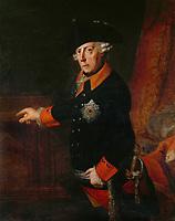 Portrait of King Friedrich II of Prussia, 1763. The King wears the Order of the Black Eagle, created in 1701 by Friedrich I, the King's grandfather. Johann Heinrich Christian Franke (1738-1792)<br /> <br /> - 01.01.1763-31.12.1763<br /> <br /> Es obliegt dem Nutzer zu prüfen, ob Rechte Dritter an den Bildinhalten der beabsichtigten Nutzung des Bildmaterials entgegen stehen.<br /> <br /> Portrait König Friedrich II. von Preussen. Canvas by Heinrich Christian Franke.<br /> <br /> - 01.01.1763-31.12.1763<br /> <br /> It is in the duty of the user of the image to clear prior to usage if any Third Party rights preclude the intended use.