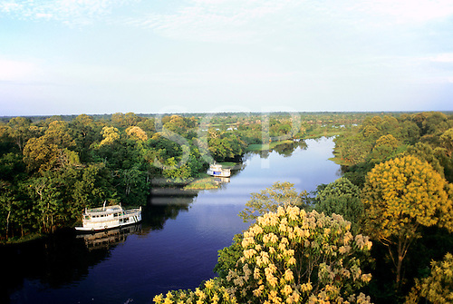 Ariau, Amazonas State, Brazil. Tributary of the Amazon River with riverboats.