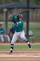 AZL Mariners third baseman Nolan Perez (38) at bat during an Arizona League game against the AZL White Sox at Camelback Ranch on July 8, 2018 in Glendale, Arizona. The AZL White Sox defeated the AZL Mariners 8-5. (Zachary Lucy/Four Seam Images)