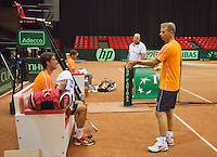 09-09-13,Netherlands, Groningen,  Martini Plaza, Tennis, DavisCup Netherlands-Austria, DavisCup,   Training, Jesse Huta Galung (L) (NED) on the background  Raymond Knaap (coach) Captain Jan Siemerink (NED)<br /> Photo: Henk Koster