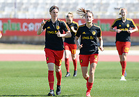 20180228 - LARNACA , CYPRUS :  Belgian Aline Zeler (left) and Tessa Wullaert (r) pictured during warming up of the women's soccer game between The Belgian Red Flames and the Czech Republic , on wednesday 28 February 2018 at GSZ Stadium in Larnaca , Cyprus . This is the first game in group B for Belgium during the Cyprus Womens Cup , a prestigious women soccer tournament as a preparation on the World Cup 2019 qualification duels. PHOTO SPORTPIX.BE   DAVID CATRY