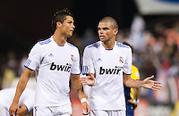 Cristiano Ronaldo (left) talks with Pepe (right). Real Madrid defeated Club America 3-2 at Candlestick Park in San Francisco, California on August 4th, 2010.