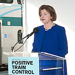 Senator Dianne Feinstein speaking at a Metrolink press conference about trains Positive Train Control technology.