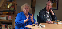 """Denise Robertson, writer & broadcaster, with David Almond, writer and patron of Seven Stories, at an evening celebrating the work of Leila Berg and the official opening of her archive at Seven Stories in Newcastle, 19th September 2012.  Denise was commissioned by Leila to write one of the """"Nippers"""" stories for kids, """"The New Bath""""."""