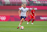 KASHIMA, JAPAN - AUGUST 2: Lindsey Horan #9 of the USWNT dribbles during a game between Canada and USWNT at Kashima Soccer Stadium on August 2, 2021 in Kashima, Japan.