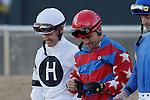 Jockey's Jon Court and Corey Nakatani before the running of the Smarty Jones Stakes. Jan.21, 2013 - Hot Springs, Arkansas, U.S -   (Credit Image: © Justin Manning/Eclipse/ZUMAPRESS.com)