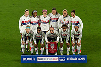 ORLANDO CITY, FL - FEBRUARY 18: USWNT Starting XI pose prior to a game between Canada and USWNT at Exploria stadium on February 18, 2021 in Orlando City, Florida.