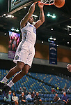 Reno Bighorns' DeQuan Jones dunks during a D-League basketball game against the Bakersfield Jam in Reno, Nev., on Tuesday, Jan. 14, 2014. The Bighorns won 93-85.<br /> Photo by Cathleen Allison
