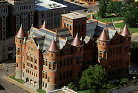 "Looking down at the """"Old Red Courthouse"""" built 1890-1892, Dallas, Texas"