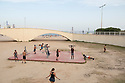 Spain - Barcelona - Youngsters training on the beach.