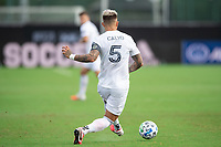 LAKE BUENA VISTA, FL - JULY 23: Francisco Calvo #5 of the Chicago Fire kicks the ball during a game between Chicago Fire and Vancouver Whitecaps at Wide World of Sports on July 23, 2020 in Lake Buena Vista, Florida.