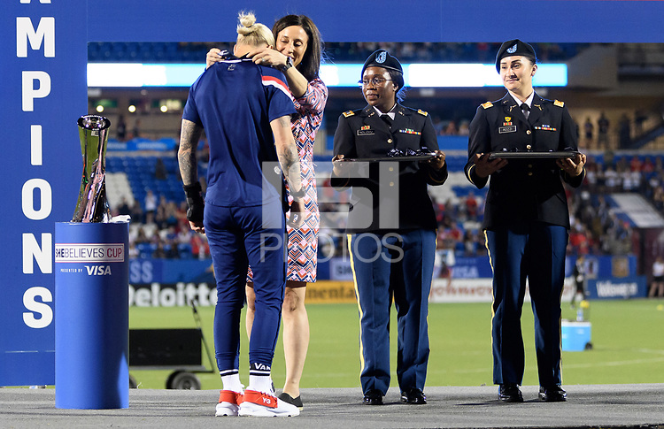 FRISCO, TX - MARCH 11: Ashlyn Harris #18 of the United States receives her medal during a game between Japan and USWNT at Toyota Stadium on March 11, 2020 in Frisco, Texas.