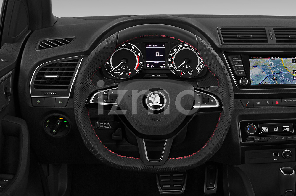 Car pictures of steering wheel view of a 2018 Skoda Fabia Monte-Carlo 5 Door Hatchback Steering Wheel