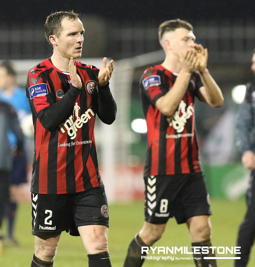 SSE Airtricity League Premier Division game between Shamrock Rovers and Bohemians at Tallaght Stadium, Dublin, Friday 3rd March 2017.Bohemians players Derek Pender and Philly Gannon salute the Bohemians supporters at the end of the game, Photo Credit: Michael P Ryan