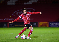 Lincoln City's Jorge Grant scores his penalty<br /> <br /> Photographer Andrew Vaughan/CameraSport<br /> <br /> EFL Papa John's Trophy - Northern Section - Group E - Lincoln City v Manchester City U21 - Tuesday 17th November 2020 - LNER Stadium - Lincoln<br />  <br /> World Copyright © 2020 CameraSport. All rights reserved. 43 Linden Ave. Countesthorpe. Leicester. England. LE8 5PG - Tel: +44 (0) 116 277 4147 - admin@camerasport.com - www.camerasport.com