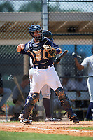 GCL Tigers East catcher David Noworyta (39) throws back to the pitcher during a game against the GCL Tigers West on August 8, 2018 at Tigertown in Lakeland, Florida.  GCL Tigers East defeated GCL Tigers West 3-1.  (Mike Janes/Four Seam Images)