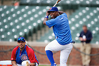 Chicago Cubs Alfonso Soriano #12 during practice before a game against the Houston Astros at Wrigley Field on June 29, 2012 in Chicago, Illinois.  Chicago defeated Houston 4-0.  (Mike Janes/Four Seam Images)