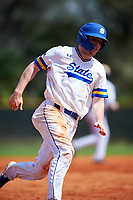 South Dakota State Jackrabbits catcher Derek Hackman (9) running the bases during a game against the FIU Panthers on February 23, 2019 at North Charlotte Regional Park in Port Charlotte, Florida.  South Dakota State defeated FIU 4-3.  (Mike Janes/Four Seam Images)
