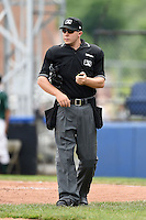 Home plate umpire Matt Carlyon during a game between the Mahoning Valley Scrappers and Jamestown Jammers  on June 16, 2014 at Russell Diethrick Park in Jamestown, New York.  Mahoning Valley defeated Jamestown 2-1.  (Mike Janes/Four Seam Images)