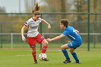 Zulte Waregem's defender Sheryl Merchiers (L) and Genk's forward Lotte Van Den Steene (R)  pictured during a female soccer game between SV Zulte - Waregem and KRC Genk on the 8 th matchday of the 2020 - 2021 season of Belgian Scooore Women s SuperLeague , saturday 21 th of November 2020  in Zulte , Belgium . PHOTO SPORTPIX.BE | SPP | DIRK VUYLSTEKE