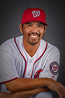 22 February 2019: Washington Nationals catcher Kurt Suzuki poses for his Photo Day portrait at the Ballpark of the Palm Beaches in West Palm Beach, Florida. Mandatory Credit: Ed Wolfstein Photo *** RAW (NEF) Image File Available ***