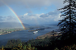 Columbia River at Puget Island, Shipping upriver, Rainbow, View from the Oregon side to the farmland island near Cathlamet on the Washington side of the river. .