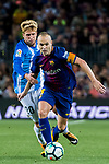 Andres Iniesta Lujan (r) of FC Barcelona battles for the ball with Sergio Gontan Gallardo, Keko, of Malaga CF during the La Liga 2017-18 match between FC Barcelona and Malaga CF at Camp Nou on 21 October 2017 in Barcelona, Spain. Photo by Vicens Gimenez / Power Sport Images