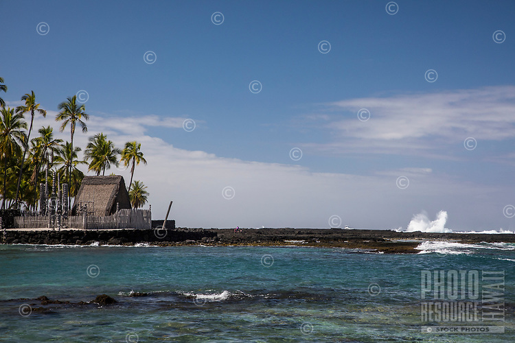 Puuhonua o Honaunau National Historical Park Hawaiian place of refuge temple, and Two Step dive and snorkeling area, seen from the ocean Pu'uhonua o Honaunau, an historic place of refuge and also a national historical park, seen from the ocean, south Kona, Big Island of Hawai'i. Two Step dive and snorkeling area is nearby, in Honaunau Bay.