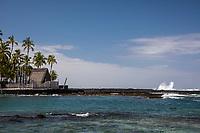 Puuhonua o Honaunau National Historical Park Hawaiian place of refuge temple, and Two Step dive and snorkeling area, seen from the ocean Pu'uhonua o Honaunau, an historic place of refuge and also a national historical park, seen from the ocean, south Kona, Big Island of Hawai'i. Two Step dive and snorkeling area is nearby, in Honaunau Bay.