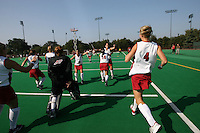 6 November 2007: Stanford Cardinal Katherine Swank (16), Hillary Braun (8), Caroline Hussey (18), Jaimee Erickson (4), and Alessandra Moss (42) during Stanford's 1-0 win against the Lock Haven Lady Eagles in an NCAA play-in game to advance to the NCAA tournament at the Varsity Field Hockey Turf in Stanford, CA.