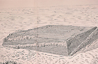Pyramid:  Pyramid at early stage and, lower lest, preparations for smaller pyramid for wife.