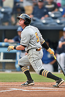 West Virginia Power second baseman Mitchell Tolman (5) swings at a pitch during a game against the Asheville Tourists at McCormick Field on June 23, 2016 in , North Carolina. The Tourists defeated the Power 3-2. (Tony Farlow/Four Seam Images)