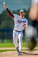 21 February 2019: Washington Nationals pitcher Stephen Strasburg works on the mound during a Spring Training workout at the Ballpark of the Palm Beaches in West Palm Beach, Florida. Mandatory Credit: Ed Wolfstein Photo *** RAW (NEF) Image File Available ***