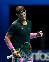 15th November 2020, O2, London, England;  Rafael Nadal of Spain celebrates after winning the singles group match against Andrey Rublev of Russia at the ATP, Tennis Mens World Tour Finals 2020 in London
