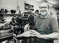 1976 FILE PHOTO - ARCHIVES -<br /> <br /> Days Are Numbered for shoe-repair industry says 52-year-old Angelo Lacalamita who operates a Yonge St. shop. There are about 70 shops left in Metro I've got about 15 years left and then I'm out of it. He started in 40s.<br /> <br /> <br /> Bezant, Graham<br /> Picture, 1976<br /> <br /> 1976<br /> <br /> PHOTO : Graham Bezant - Toronto Star Archives - AQP