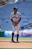 Lakeland Flying Tigers starting pitcher Anthony Castro (15) gets ready to deliver a pitch during a game against the Clearwater Threshers on May 2, 2018 at Spectrum Field in Clearwater, Florida.  Clearwater defeated Lakeland 7-5.  (Mike Janes/Four Seam Images)