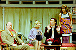 Black Comedy by Peter Shaffer, directed by Gregory Doran. With Gary Waldhorn as Coolnel Melkett, Nicola McAuliffe as Miss Furnival, Desmond Barrit as Harold Gorringe, Anna Chancellor as Carol Melkett. Opened at The Comedy Theatre 22/4/98. CREDIT Geraint Lewis