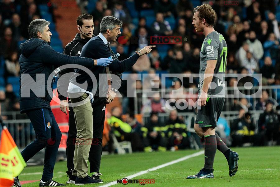 Real Sociedad's coach Asier Garitano and Adnan Januzaj during La Liga match between Real Madrid and Real Sociedad at Santiago Bernabeu Stadium in Madrid, Spain. January 06, 2019. (ALTERPHOTOS/A. Perez Meca)<br />  (ALTERPHOTOS/A. Perez Meca) /NortePhoto.com