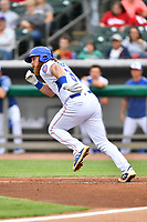 Tennessee Smokies designated hitter Jesse Hodges (36) runs to first base during a game against the Birmingham Barons at Smokies Stadium on May 15, 2019 in Kodak, Tennessee. The Smokies defeated the Barons 7-3. (Tony Farlow/Four Seam Images)