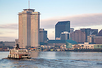 New Orleans, Louisiana.  Ferry Connecting New Orleans and Algiers Crossing the Mississippi River, Early Morning.