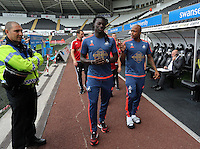 Pictured L-R: Bafetimbi Gomis and Andre Ayew of Swansea Saturday 15 August 2015<br /> Re: Premier League, Swansea City v Newcastle United at the Liberty Stadium, Swansea, UK.
