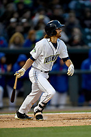 Center fielder Gene Cone (9) of the Columbia Fireflies bats in a game against the Lakewood BlueClaws on Friday, May 5, 2017, at Spirit Communications Park in Columbia, South Carolina. Lakewood won, 12-2. (Tom Priddy/Four Seam Images)