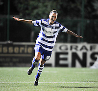 20130906 - OOSTAKKER , BELGIUM : Gent's Jassina Blom pictured celebrating her goal for Gent during the female soccer match between AA Gent Ladies  and PSV / FC Eindhoven Dames , of the third matchday in the BENELEAGUE competition. Friday 06 th September 2013. PHOTO DAVID CATRY