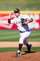 Erik Shannahan (36) of the Missouri State Bears delivers a pitch during a game against the Southern Illinois University- Edwardsville Cougars at  Hammons Field on March 10, 2012 in Springfield, Missouri. (David Welker / Four Seam Images).